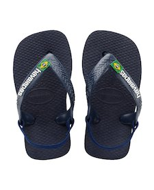 419ca16fe095 HAVAIANAS BABY BRASIL LOGO II- Navy Blue   Citrus Yellow Baby Flip flops  for women